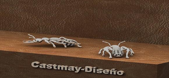 446-colgante de hormiga, oro blanco con diamantes